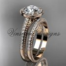 Unique 14k rose gold diamond engagement ring, engagement set,  Moissanite VD10080S