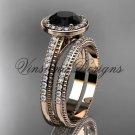 Unique 14k rose gold diamond engagement ring, engagement set, Black Diamond VD10080S
