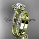 14kt yellow gold unique diamond engagement ring, engagement set  Moissanite VD10080S