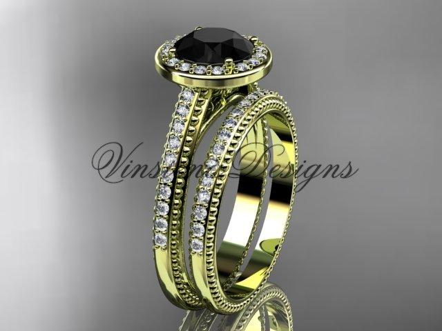 14kt yellow gold unique diamond engagement ring, engagement set, Black Diamond VD10080S