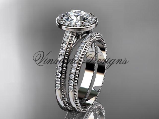 Unique 14k white gold diamond engagement ring, engagement set,  Moissanite VD10080S