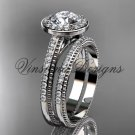 Unique 14k white gold diamond engagement ring, engagement set,  Moissanite VD10080S