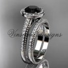 Unique 14k white gold diamond engagement ring, engagement set, Black Diamond VD10080S