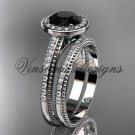 Platinum unique diamond engagement ring, engagement set, Black Diamond VD10080S