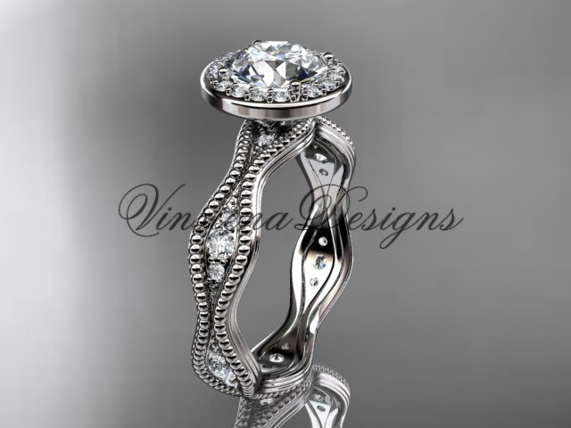 """14k white gold diamond engagement ring, """"Forever One"""" Moissanite VD10081"""