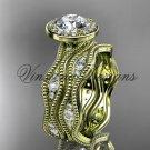 """14k yellow gold diamond engagement ring, """"Forever One"""" Moissanite VD10081S"""