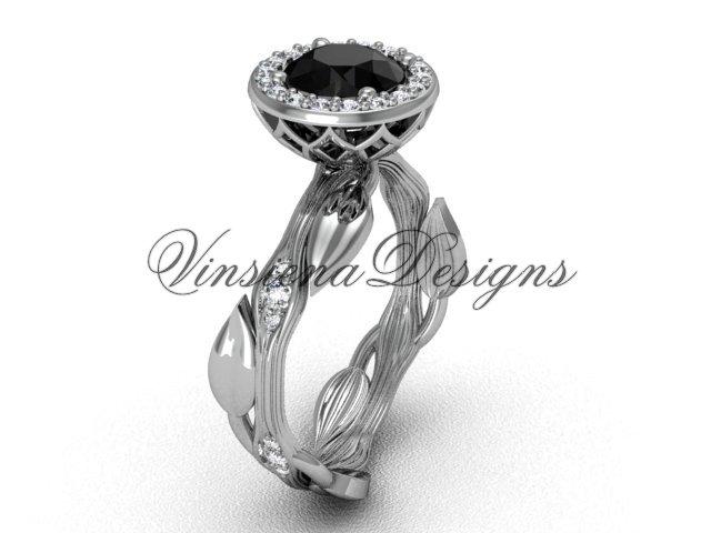 14kt white gold diamond leaf and vine engagement ring, Black Diamond VF301002