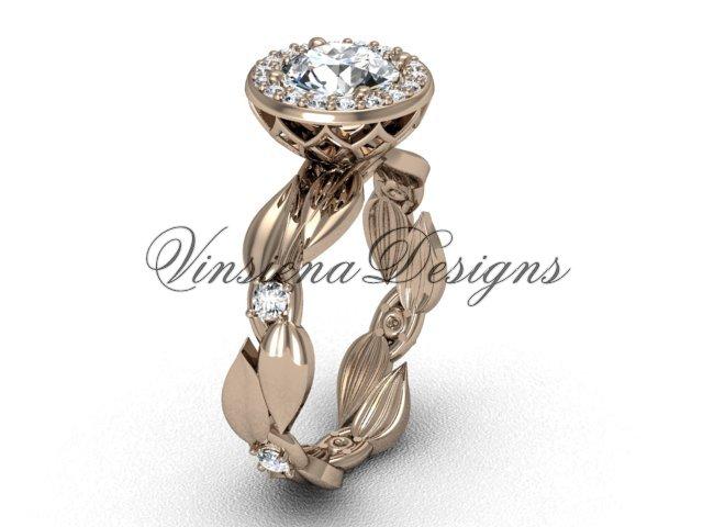 """14kt rose gold diamond leaf and vine engagement ring, """"Forever One"""" Moissanite VF301004"""
