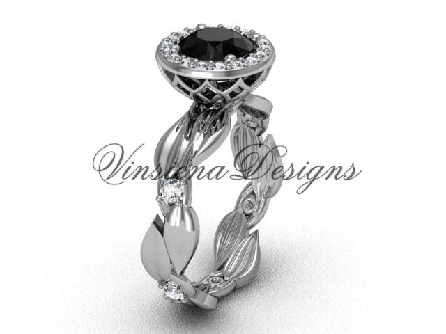 platinum diamond leaf and vine engagement ring, Black Diamond VF301004