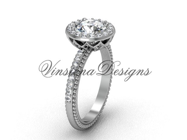 """platinum diamond engagement ring, """"Forever One"""" Moissanite VF301005"""