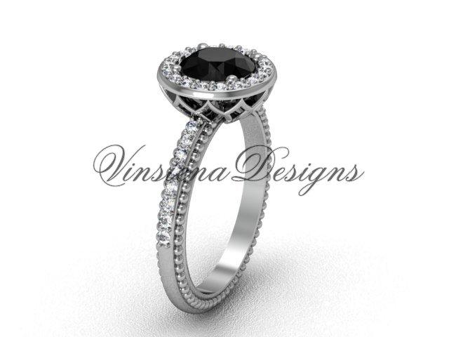 14kt white gold diamond engagement ring, Black Diamond VF301005