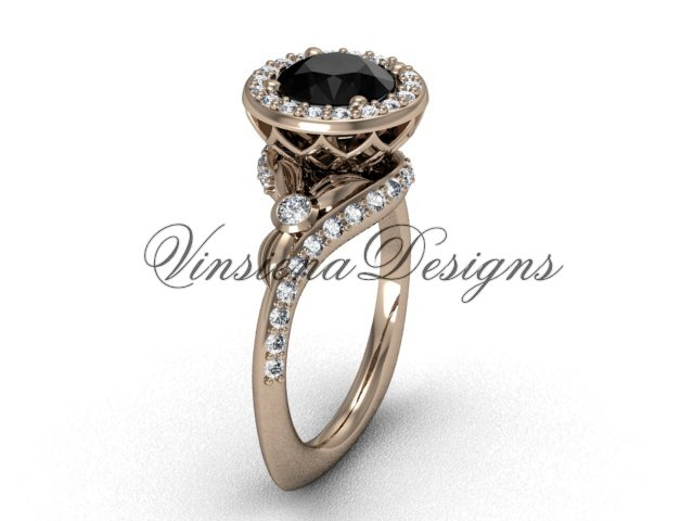 14kt rose gold diamond leaf and vine engagement ring, Black Diamond VF301008