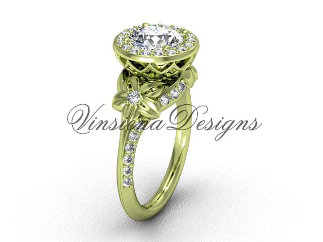 14kt yellow gold leaf and vine, flower engagement ring VF301009