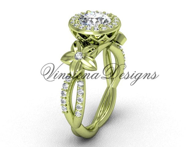 "14kt yellow gold flower engagement ring, ""Forever One"" Moissanite VF301010"