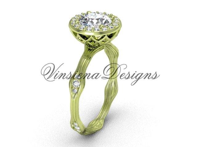 """14k yellow gold diamond engagement ring, """"Forever One"""" Moissanite VF301011"""