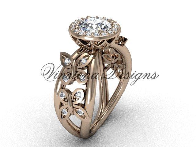 """14kt rose gold butterfly engagement ring, """"Forever One"""" Moissanite VF301013"""