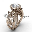 "14kt rose gold butterfly engagement ring, ""Forever One"" Moissanite VF301013"