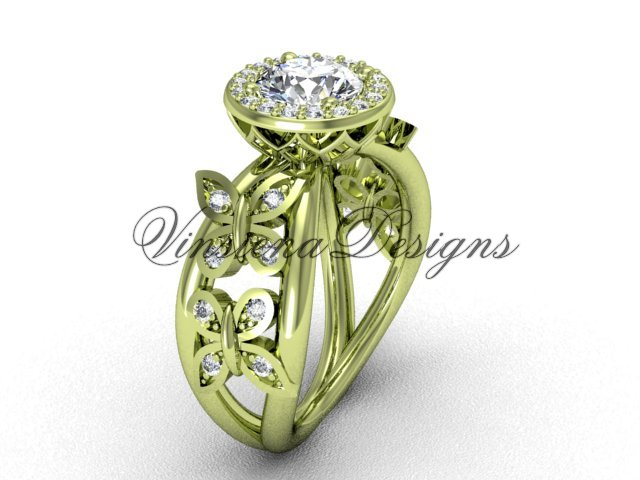 "14kt yellow gold butterfly engagement ring, ""Forever One"" Moissanite VF301013"