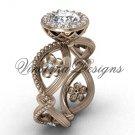 """14kt rose gold flower engagement ring, """"Forever One"""" Moissanite VF301014"""