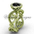 14kt yellow gold flower engagement ring, Black Diamond VF301014