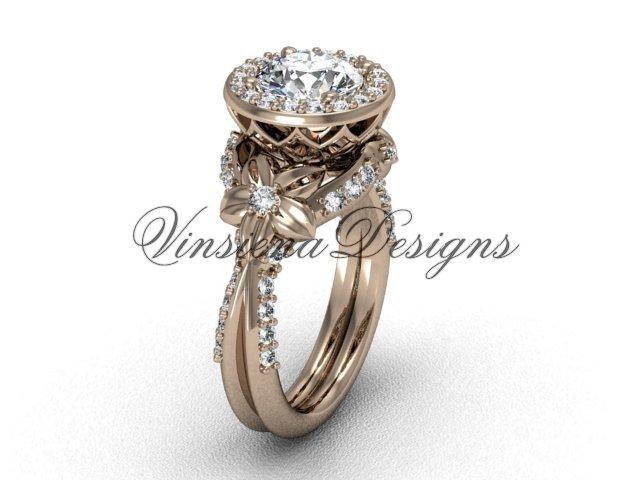 14kt rose gold flower engagement ring VF301017