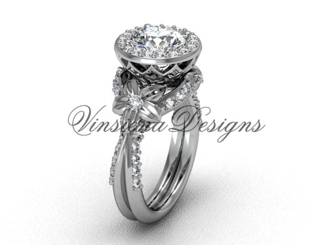 "platinum flower engagement ring, ""Forever One"" Moissanite VF301017"