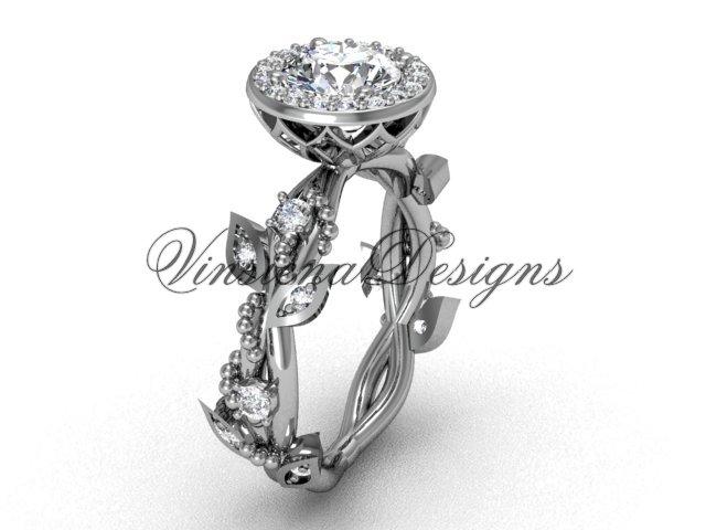 14kt white gold diamond leaf and vine engagement ring VF301018