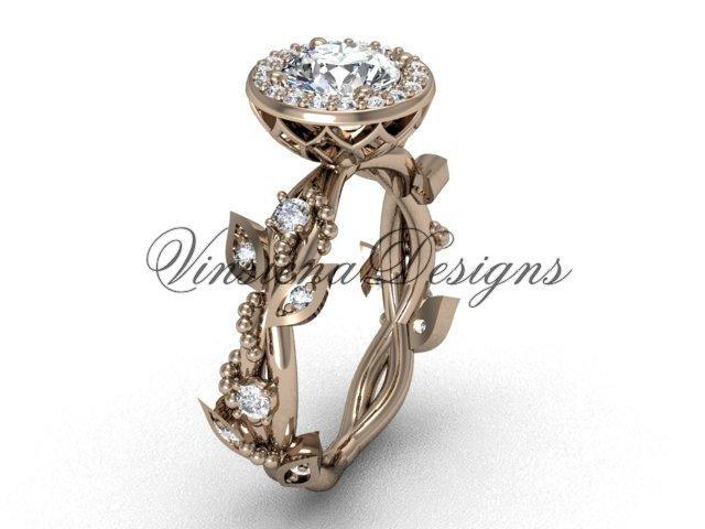 """14kt rose gold diamond leaf and vine engagement ring, """"Forever One"""" Moissanite VF301018"""