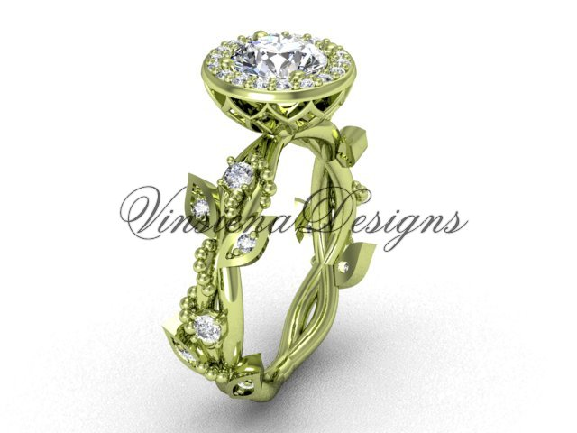 "14kt yellow gold diamond leaf and vine engagement ring, ""Forever One"" Moissanite VF301018"