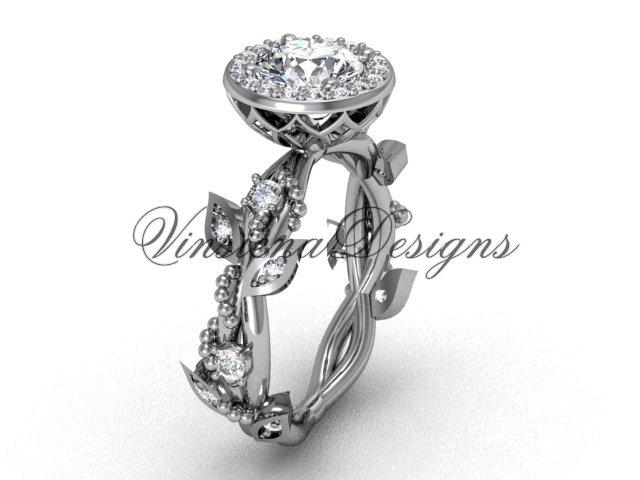 """platinum diamond leaf and vine engagement ring, """"Forever One"""" Moissanite VF301018"""