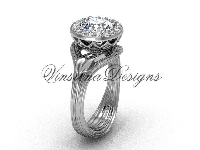14kt white gold diamond leaf and vine engagement ring VF301019