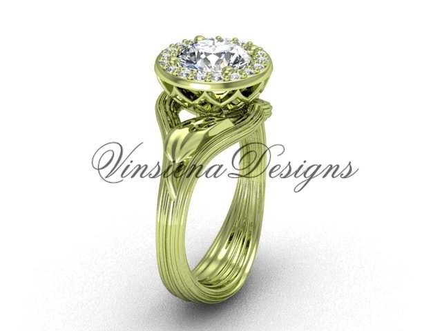 14kt yellow gold diamond leaf and vine engagement ring VF301019
