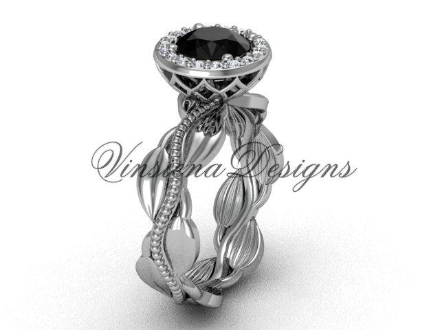 platinum diamond leaf and vine engagement ring, Black Diamond VF301021