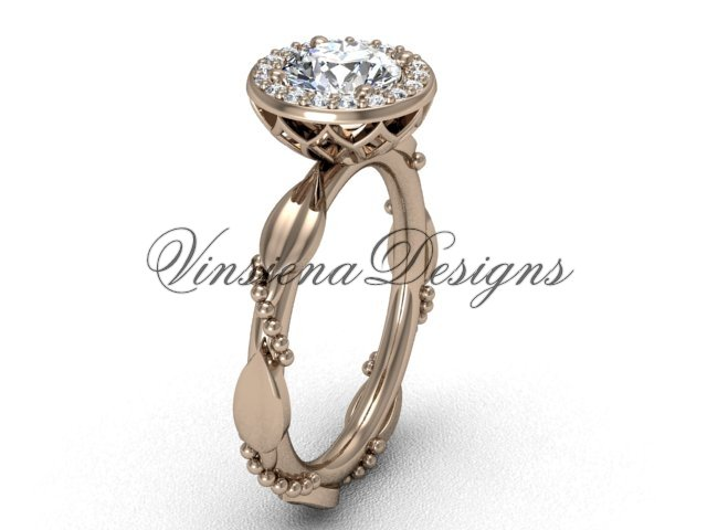 14kt rose gold diamond leaf and vine engagement ring VF301022