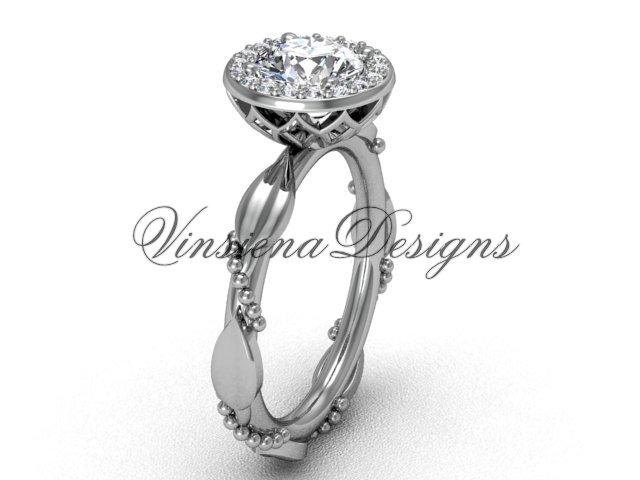 platinum diamond leaf and vine engagement ring VF301022