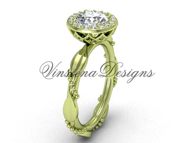 "14kt yellow gold diamond leaf and vine engagement ring, ""Forever One"" Moissanite VF301022"