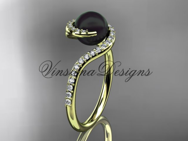 14kt yellow gold diamond, pearl engagement ring VBP8199