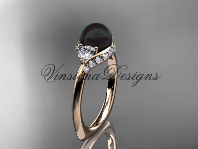unique 14kt rose gold diamond Pearl engagement ring VBP8225