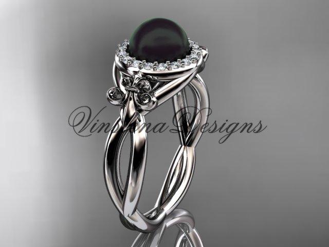 14kt white gold diamond Fleur de Lis, Round Tahitian Black Cultured Pearl, engagement ring VBP10023