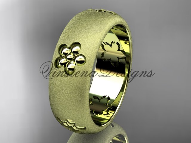 14kt yellow gold floral matte finish engagement ring, wedding band VF301023G