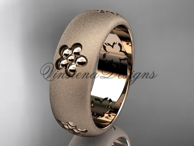 14kt rose gold floral matte finish engagement ring, wedding band VF301023G