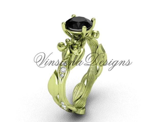 14kt yellow gold diamond leaf and vine, Fleur de Lis, Black Diamond engagement ring VD20831