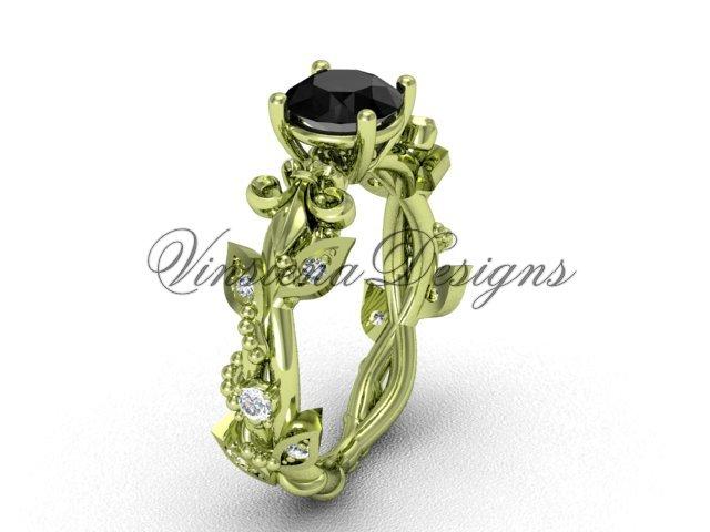 14k yellow gold diamond leaf and vine, Fleur de Lis, Black Diamond engagement ring VD20859