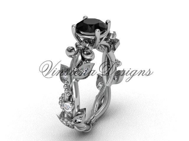 Platinum  diamond leaf and vine, Fleur de Lis, Black Diamond engagement ring VD20859