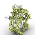 14k yellow gold diamond leaf and vine, Fleur de Lis engagement set VD20859S