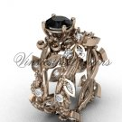 14k rose gold diamond leaf and vine, Fleur de Lis, Black Diamond engagement set VD20859S