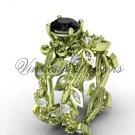 14k yellow gold diamond leaf and vine, Fleur de Lis, Black Diamond engagement set VD20859S