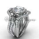 14kt white gold diamond, Fleur de Lis engagement ring with double matching band VD20889S