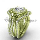 14kt yellow gold diamond, Fleur de Lis engagement ring with double matching band VD20889S