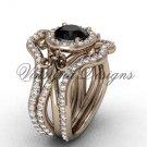 14kt rose gold diamond, Fleur de Lis engagement ring , Black Diamond engagement set VD20889S